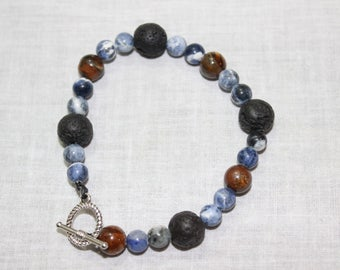 Handmade solidite, lava stone, and tiger eye