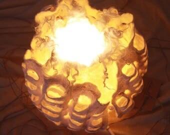 Felted Lamp. Wool lamp, Night light.