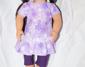 """Purple Doll Dress with Leggings. Fits American Girl Dolls and other 18"""" dolls"""
