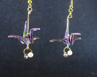 Origami jewelry, Origami earrings, Origami crane, origami, peace, Sacramento, origami wedding, peace crane, origami gift
