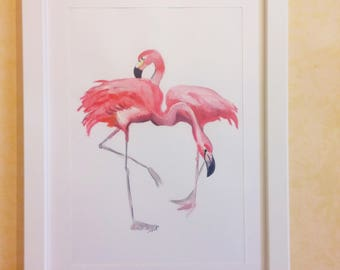 Cross-pink flamingos-handmade Design two pink flamingos-watercolor on paper with frame included