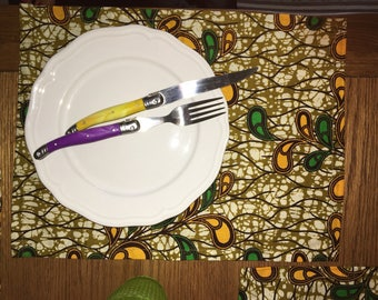 Place mat, cotton,  yellow , green and beige, 30x40cm,