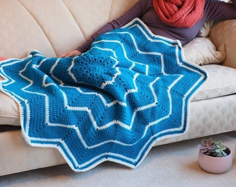 Blue and White Star Blanket, Star Afghan, Blanket, Handmade
