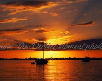 Sunset, Sunset digital, Sunset digital download, Beach, Sunrise, Digital Download, Digital Photo, Florida, Red, Sky, Sailboat