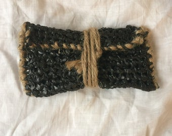 Plastic Bag Crochet Pouch! -BLACK- Recycled/Upcycled