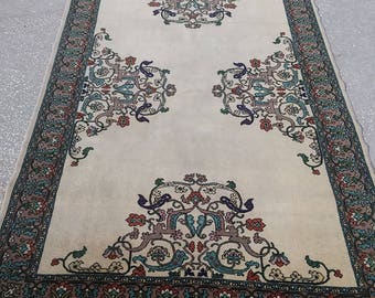 OushakRug,Vintage Turkish Rug,Super òualty Home & living,handmade wool on cotton,4'1×6'3feet Collection Rugs,From Sıvas  Collection carpet,