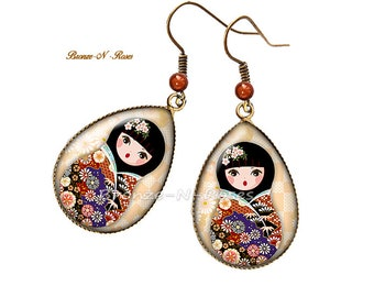 Drop earrings * matryoshka * beige Bohemian Russian dolls