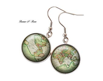 Planisphere green planet earth globe nature earrings