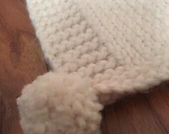 Hand knit pom pom rug/runner