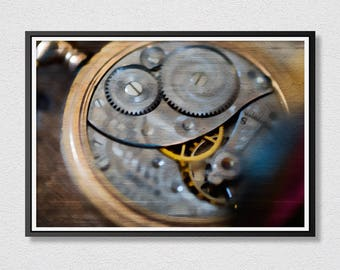 Pocket Watch Printable Art - Pocket Watch Gears Photo - Photograph Art - Instant Download - Printable Art - Housewarming Gift.