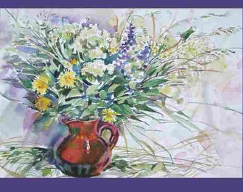 Watercolor painting, flowers in a vase ,, field bouquet, white flowers, a small still-life, a gift of up to  50, field flowers in a jug