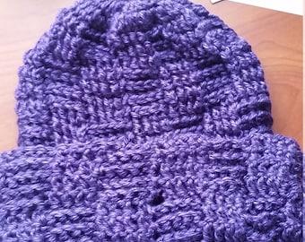 Teen/ Adult Purple, Basket Weave, Slouchy Beanie Hat