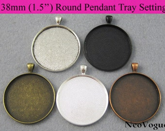 50 - 38mm Round Pendant Setting, 1.5 inch Circle Glass Setting, 1 1/2 inch Round Pendant Blank Tray - Free Shipping