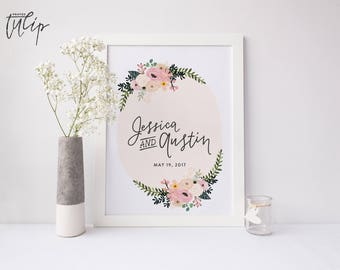 Custom Wedding Print, Floral Handlettered Decoration, Personalized Bride Groom Gift, Name Wedding Date, Anniversary Keepsake Present