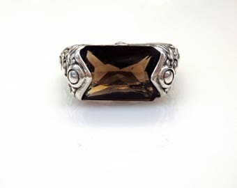 Sterling Silver Cushion Cut Smokey Topaz Unique Design Ring