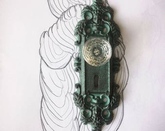 Vintage Glass Door Knob Hook/ Shabby Chic/ Cast Iron Wall Hook
