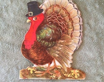 Vintage Hallmark Thanksgiving Turkey Standup Decoration Cards (set of 5, small version)