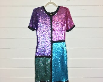 Vintage 1980s Colorblock Sequin Silk Party Dress / Made by Scarlet Rage / Magenta & Turquoise