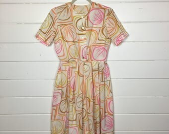 Vintage 1960s Pastel Seashell Print Day Dress / Fit and Flare / Shirtdress / Made by Wildman