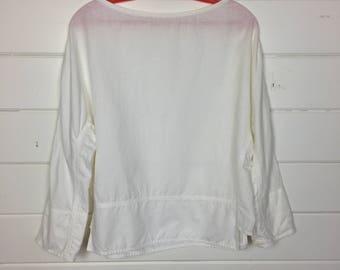 Vintage 1980s White Linen Blouse / Minimal / Boatneck / Boxy Blouse / Boho