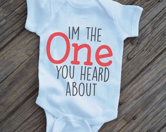 The One You Heard About, First Birthday onesie, 1st Birthday Onesie, Boys 1st Birthday, Baby swag, Mother Hustler, hipster baby clothes,