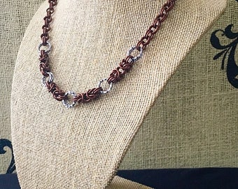 Chainmail Necklace - Byzantine Centerpiece in Red Bronze with Twisted/Textured Accents in Gunmetal Grey