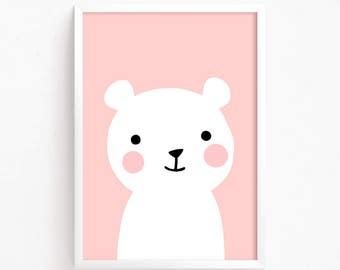 Sale 50% Off - Pink Baby Bear Poster Cute Printable art animal poster illustration baby room print nursery art Instant Download Digital file
