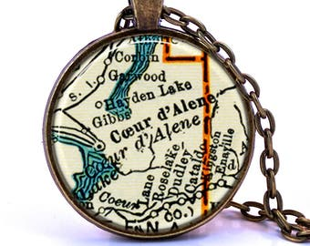 Couer D'Alene, Idaho Map Pendant Necklace - Created from a vintage map published in 1937.