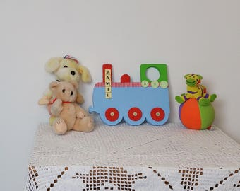 Baby train etsy baby train nursery ornament personalised baby gift wooden baby train baby boy negle Gallery