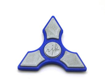3D Printed Fidget Spinner (Dark Blue/Silver)