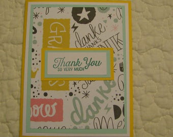 5 identical thank you greeting cards 4 1/4 by 5 1/2 with envelop.