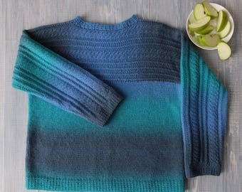 Sweater hand knitted multi-colored Aqua