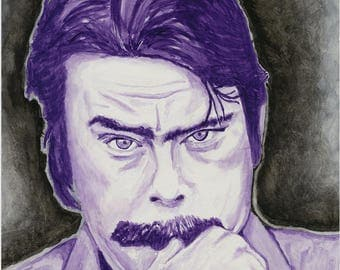 Horror author Stephen King purple watercolor painting portrait art print 11 x 14