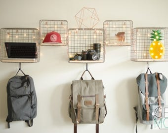 Industrial Wire Basket Shelving Unit