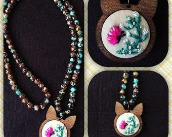 Necklace   embroidered on felt butterfly and flower figure
