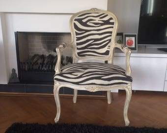 Baroc white gold chair with zebralook