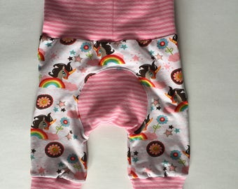 CLEARANCE evolutive pants 3-12 months, girl, baby clothing, Unicorn