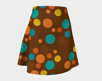 Retro, Skirt, Gift, For Her, Wife Gift, Womens Skirt, Gift, Geometric, A-Line Skirt, Womens Gift, Unique, Gift for Women, Brown