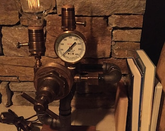 Steampunk Industrial Pipe Lamp-  #106 Brasshat SPECIAL EDITION
