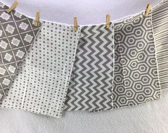 Gray and White Burp Cloths, Set of 5