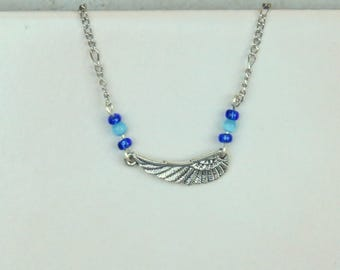 Anklet - Ankle Bracelet Wing Charm and Cat's Eye Beads