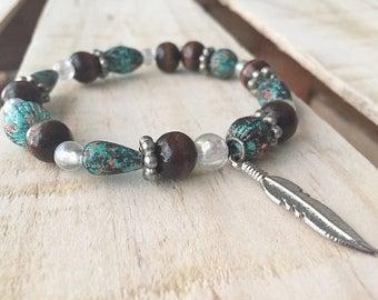 Boho gypsy beaded bracelet . Friendship bracelet. Brown and  turquoise bead bracelet. Tumblr bracelet.