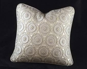 Silver lace front cushion with plain silver back