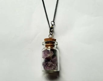 Potion Bottle Necklace Crystal Bottle Necklace Purple Fluorite Necklace Fluorite Necklace Purple Fluorite Crystal Fluorite Crystal