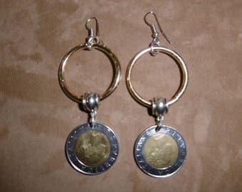 500lire coin pendant earrings.