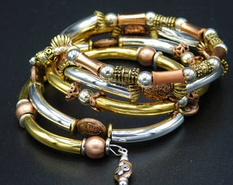 copper, silver, brass, and gold beaded multi wrap bracelet