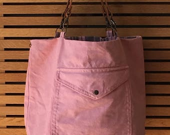 Tote Reverso, creating craft up-cycled, made in France, pink nude