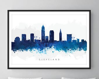 Cleveland Skyline, Cleveland Ohio Cityscape Art Print, Wall Art, Watercolor, Watercolour Art Decor