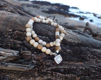 Natural Stone Beaded Bracelet- Jasper & Magnesite double strand beaded bracelet
