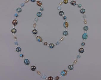"35"" Agate, Aquamarine and Crystal Necklace"